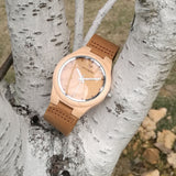 Maple Bamboo White 10F - Wood watches by Mydeer | Engraved Handmade wood and bamboo watches