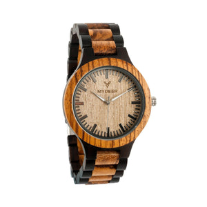 Zabrawood+Ebony 28N - Wood watches by Mydeer | Engraved Handmade wood and bamboo watches