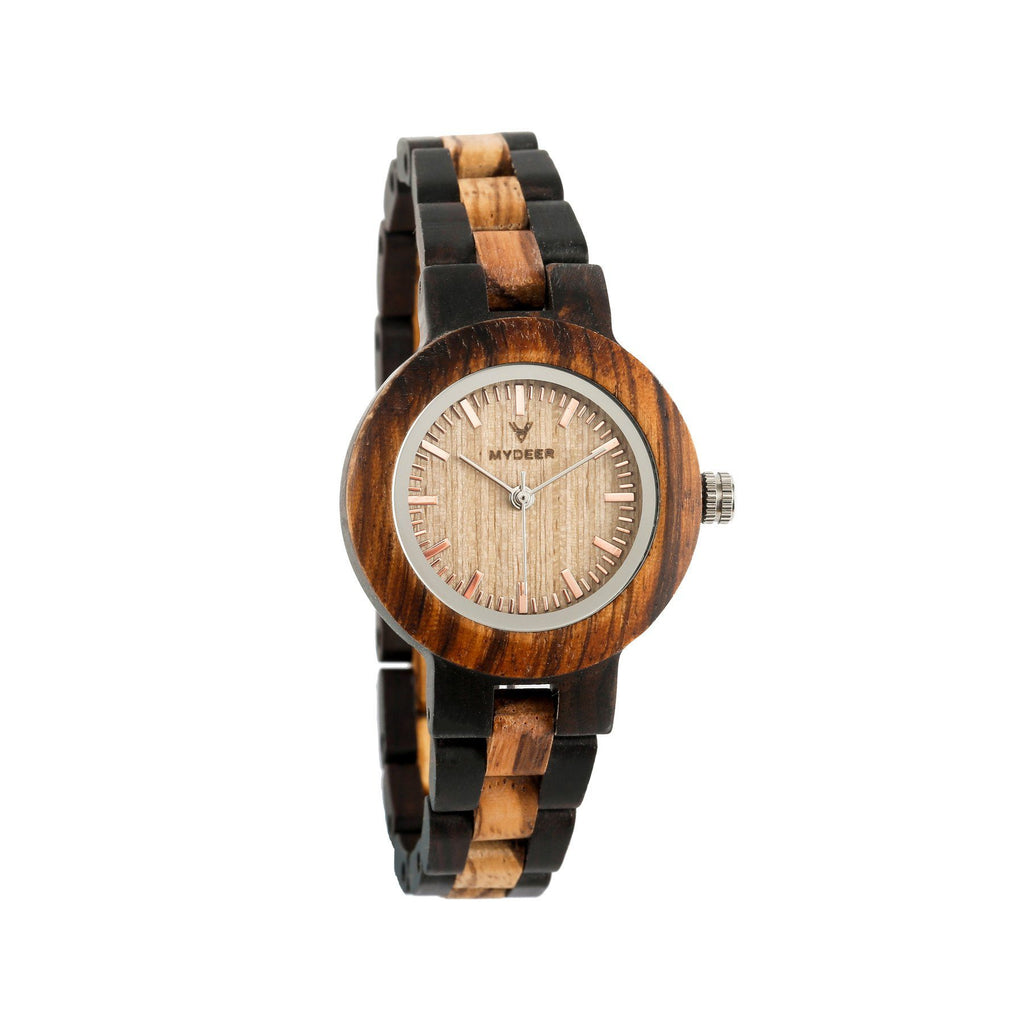 Zabrawood+Ebony 30EN Small - Wood watches by Mydeer | Engraved Handmade wood and bamboo watches