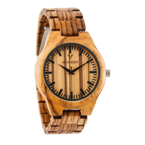 Zebra Lines 22G - Wood watches by Mydeer | Engraved Handmade wood and bamboo watches