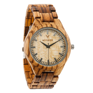 Zebra Yellow 23G - Wood watches by Mydeer | Engraved Handmade wood and bamboo watches