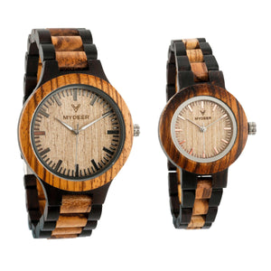 Ebony with Zebra - Wood watches by Mydeer | Engraved Handmade wood and bamboo watches