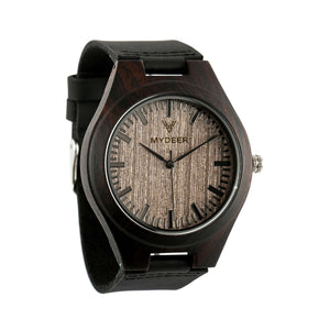 Ebony Cafe 08F - Wood watches by Mydeer | Engraved Handmade wood and bamboo watches