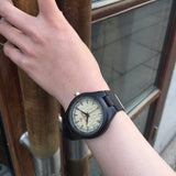 Ebony Yellow Small 27E - Wood watches by Mydeer | Engraved Handmade wood and bamboo watches