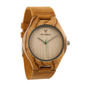 Zebra Green 24f - Wood watches by Mydeer | Engraved Handmade wood and bamboo watches