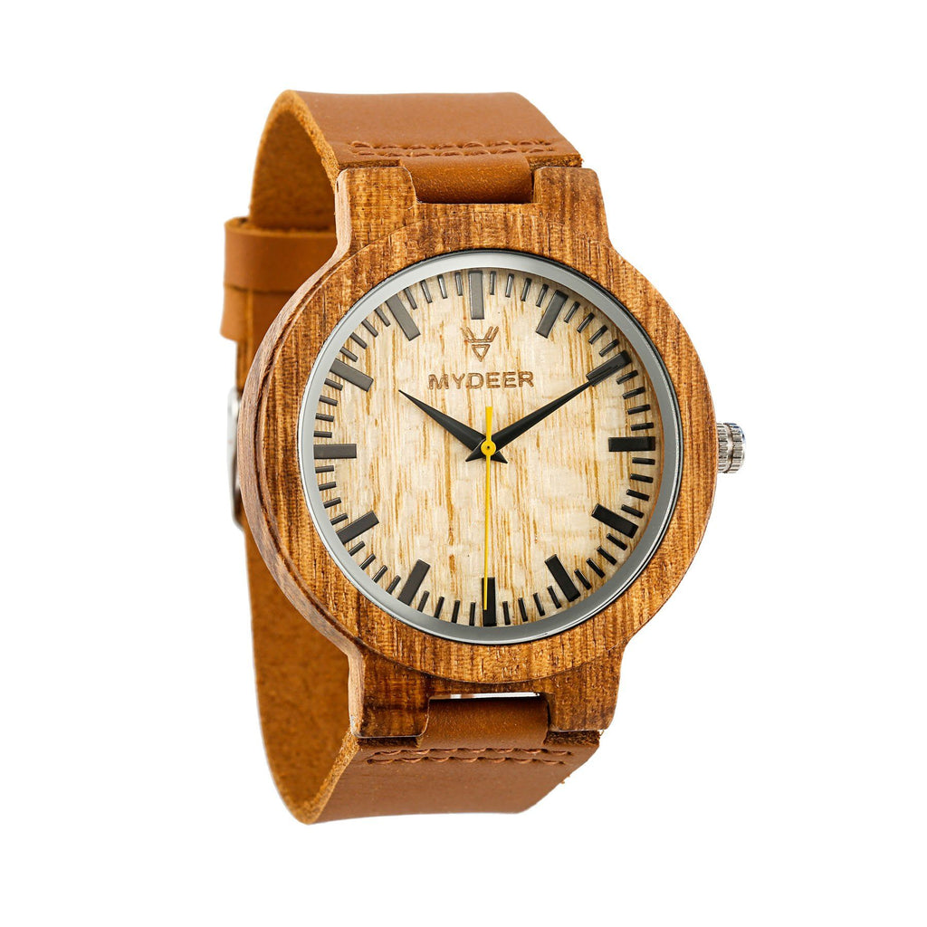 Zebra Yellow 20C - Wood watches by Mydeer | Engraved Handmade wood and bamboo watches