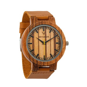 Zebra Yellow 21c - Wood watches by Mydeer | Engraved Handmade wood and bamboo watches