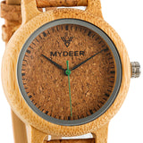 Bamboo Cork 12M Small - Wood watches by Mydeer | Engraved Handmade wood and bamboo watches