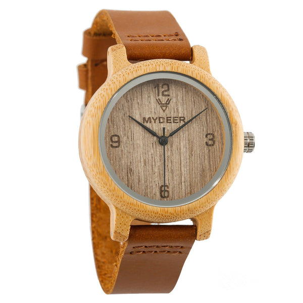 Bamboo Numb 09L Small - Wood watches by Mydeer | Engraved Handmade wood and bamboo watches