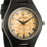 Ebony Yellow  27E - Wood watches by Mydeer | Engraved Handmade wood and bamboo watches