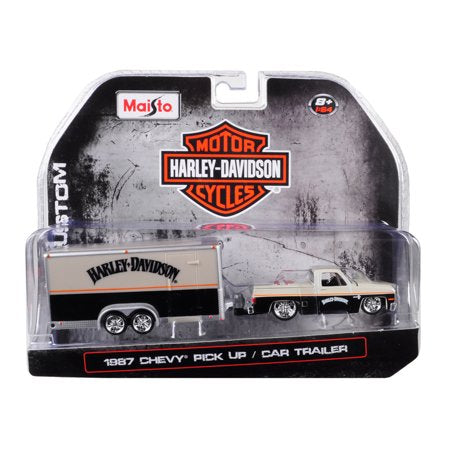 1:64 HARLEY - DAVIDSON CUSTOM - CHEVROLET PICK UP WITH CAR TRAILER (ORANG/BLACK) - EXCLUSIVE