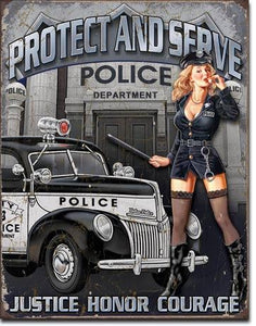 "PROTECT AND SERVE 16""x12.5"""