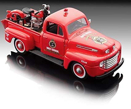 1:24 HARLEY DAVIDSON FORD F-1 PICKUP WITH HARLEY DAVIDSON KNUCKLEHEAD RED