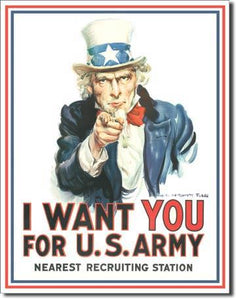 "Uncle Sam I Want You 12.5""W X 16""H"