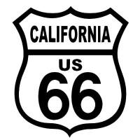 ROUTE 66 CALIFORNIA BLACK ON WHITE PATCH