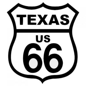 ROUTE 66 TEXAS BLACK ON WHITE PATCH