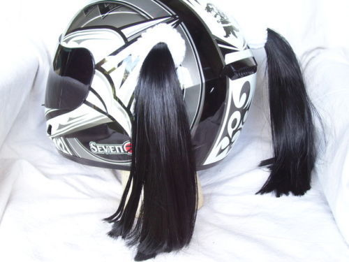 Black Ladies Helmet Pigtails Works On Any Motorcycle Skate or Snow Helmet