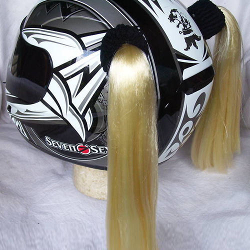 Blonde Ladies Helmet Pigtails Works On Any Motorcycle Skate or Snow Helmet
