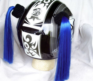 Blue Ladies Helmet Pigtails Works On Any Motorcycle Skate or Snow Helmet