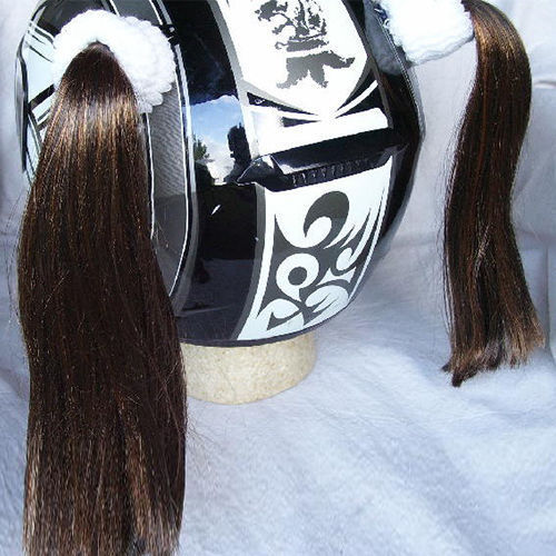 Brown Ladies Helmet Pigtails Works On Any Motorcycle Skate or Snow Helmet