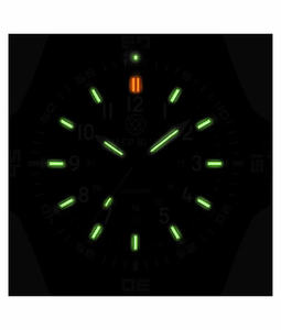 DAYNIGHT GUARDIAN AUTOMATIC TRITIUM POLY CARBON CASE BLACK/WHITE BEZEL - GREEN/ORANGE TUBES - BLACK SILICON VENTED ACCORDIAN STRAP w/ND LIMITS CHART/ BLACK BUCKLE