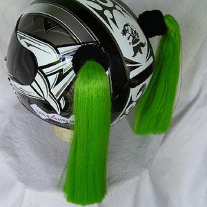 Green Ladies Helmet Pigtails Works On Any Motorcycle Skate or Snow Helmet