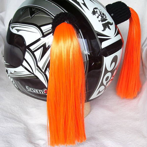 Orange Ladies Helmet Pigtails Works On Any Motorcycle Skate or Snow Helmet