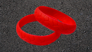 RED ROAD RASH BIKER WRISTBAND