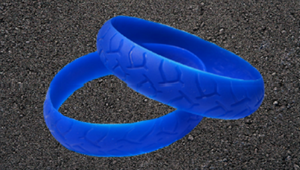 BLUE ROAD RASH BIKER WRISTBAND