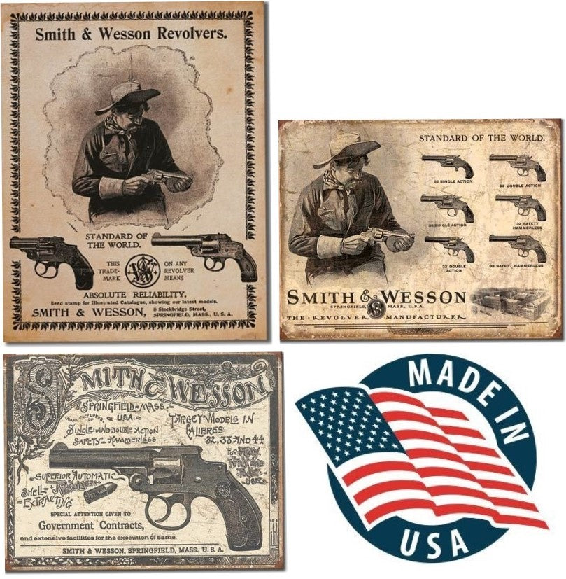 Desperate 3 Pack SMITH AND WESSON Vintage Sign Set Made in USA! Firearms Western\ # 1464\# 1743\ # 2014