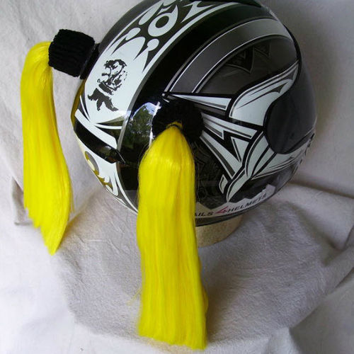 Yellow Ladies Helmet Pigtails Works On Any Motorcycle Skate or Snow Helmet