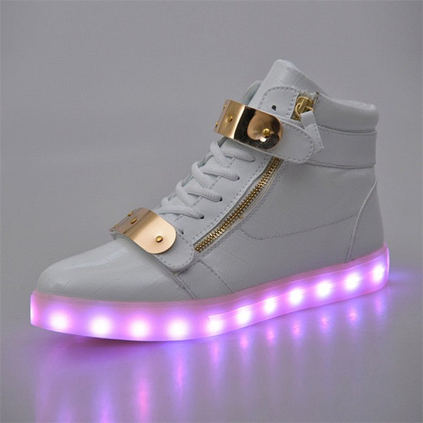 Unisex Sequined  Luminous Lover Flash Ankle Boots with USB Charging
