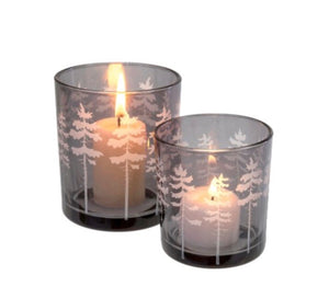 Glass votive w tree design-Grey