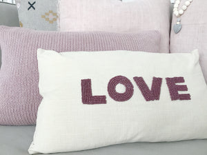 12x21 Hand-beaded LOVE Cushion