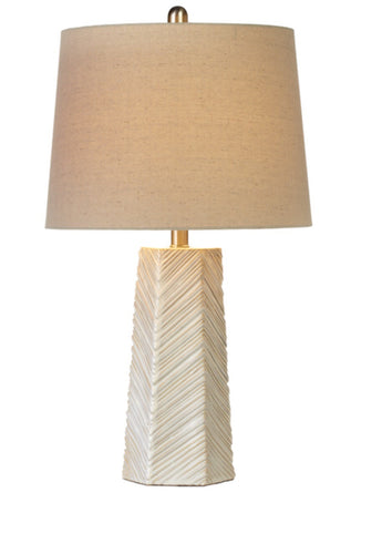 Ivory chevron base table lamp