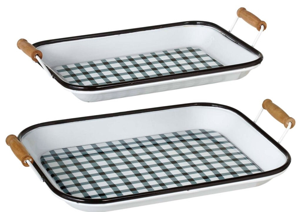Enamel tray w blk&wht check pattern-2sizes
