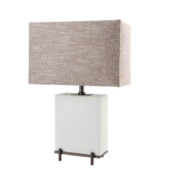 Grey cement base table lamp