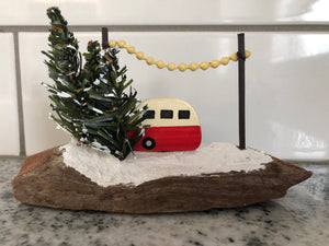 Wood Camper on driftwood block