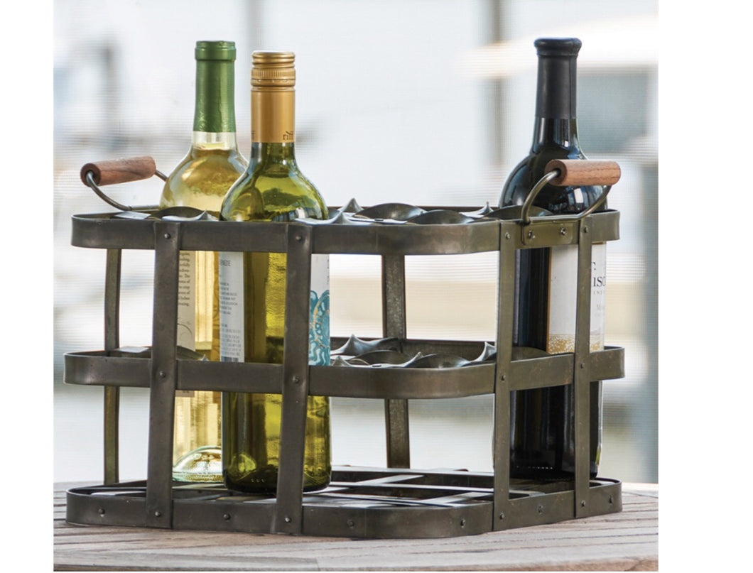 Metal crate wine rack