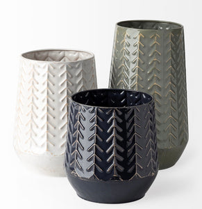 Chevron Ceramic Vase-2asst.