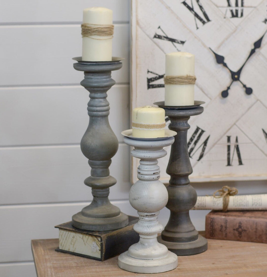 S/3 Wood Candle Holders -grey tones