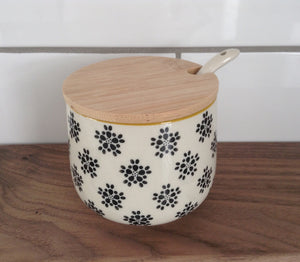 Hand-stamped sugar bowl w spoon