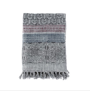 Block print cotton throw-Grey
