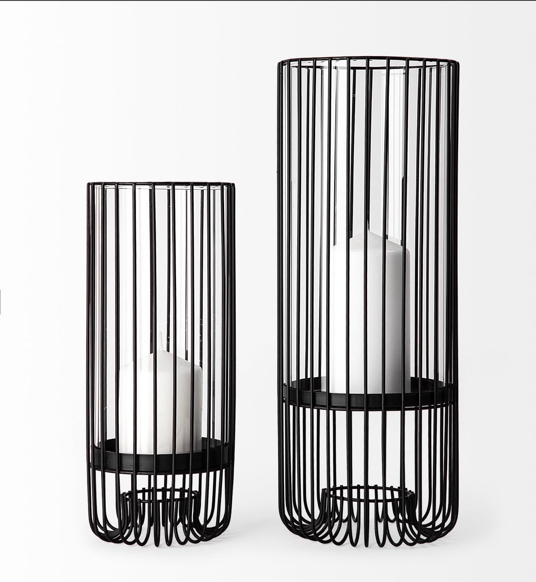 S/2 Black Metal Cylindrical Candle Holders