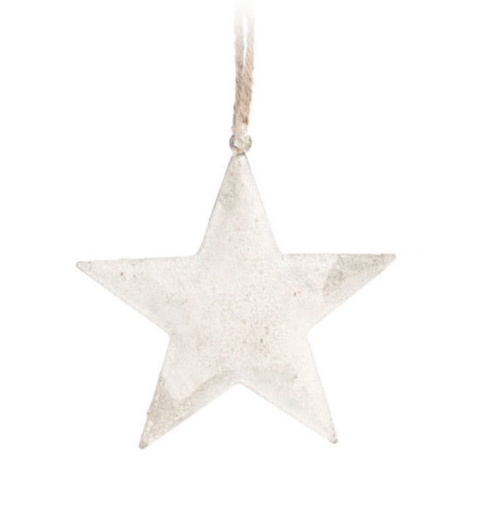 Iron Star white metal ornament