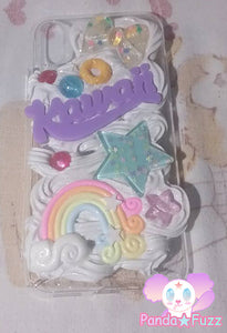READY TO SHIP Kawaii Fairy Kei Rainbow Star Bow Cheerio Apple Iphone X Deco Case
