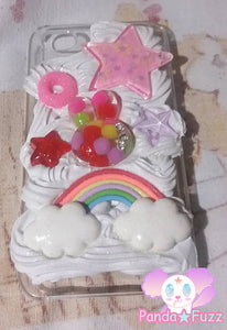 READY TO SHIP Kawaii Fairy Kei Rainbow Bunny Cheerio Star Apple Iphone 4 Deco Case