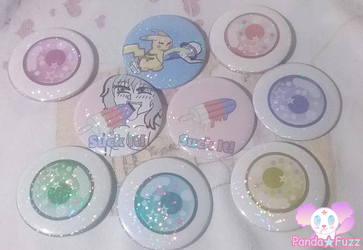 Kawaii Eye Ball Pokemon Creepy Cute Pastel Goth 2.25 Inch Button Pins Mix Set of 3