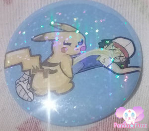 Kawaii Cute Pokemon Pikachu Leak A Chu Nintendo Ash Ketchum 2.25 Inch Button Pins