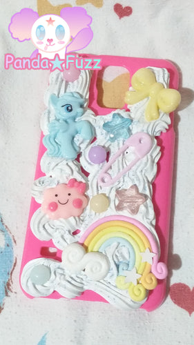 DISCOUNTED READY TO SHIP Kawaii Fairy Kei Rainbow Blue Pony Samsung Galaxy S5 Deco Case